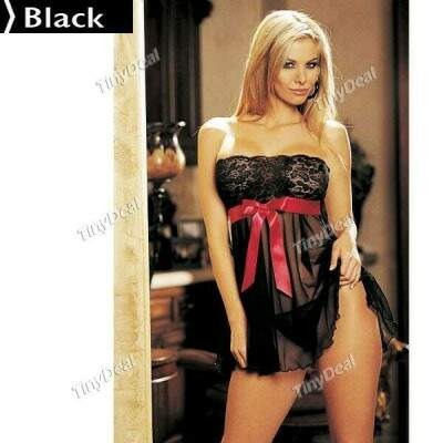 Seductive Lace & Spandex Women Off Shoulder Lingerie Set Babydolls Nightdress