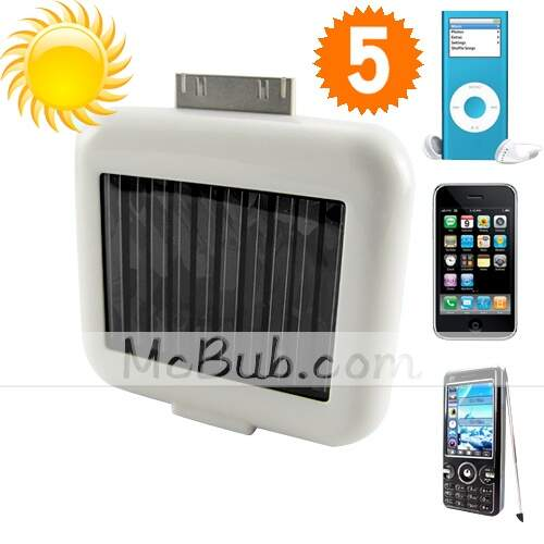 Solar Battery Charger USB Dispositivos para iPhones / iPods - Branco