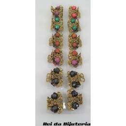 CA1520 - Cartela 12 Mini Piranhas Daiana Stone Colors - M3