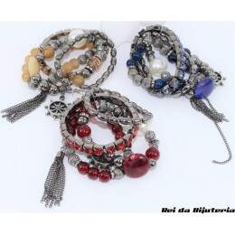 PS4664 - Kit Pulseira Bijuteria PHD Moda Blog - M6 (Cores Sortidas)