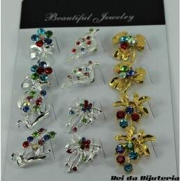 AC0887CX - Cartela com 12 Broches Beautiful Jewelry - M1
