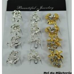 AC0888CX - Cartela com 12 Broches Beautiful Jewelry - M2