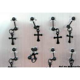 PI0168CX - Cartela com 12 Piercing Trava com Cruz Preto