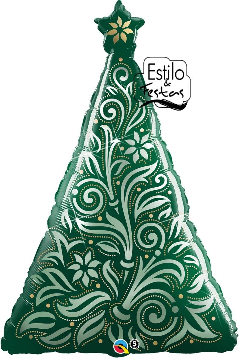 Balão Árvore de Natal Damasco Damask Christmas Tree Qualatex