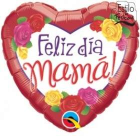 Balão Feliz Dia das Mamães Rosas Happy Day Mother Roses Qualatex