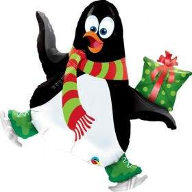 Balão Pinguim Patinação no Gelo Ice Skating Penguin 41 cm Qualatex