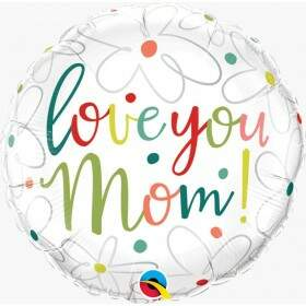 Balão dia das Mães Love You mom scribble Flowers 47394 Qualatex