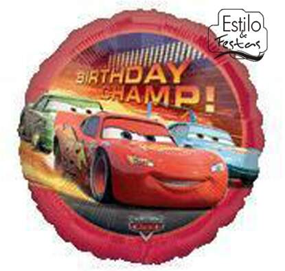 Balão Metalizado Redondo Cars McQueen Birthday Champ Disney Anagram