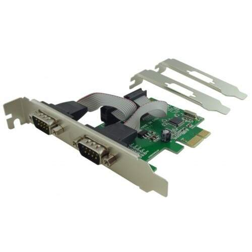 Placa Pci Express X1 (mini pci) c/ 2 portas Serial Seriais Rs232 + Espelho Low Profile / Perfil Baixo - Feasso