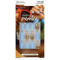 CG Shades of Paradise Nail Tips (Blue with Gold Foil) (84915)