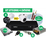 Kit DVR Intelbras com 4 Câmeras com HD