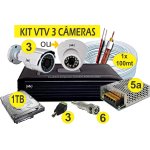 Kit DVR AHD VTV 3 cameras+HD1TB