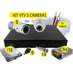 Kit DVR AHD VTV 5 cameras+HD1TB