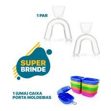 Compre 3 Mini Kit Clareador Dental Whiteness Simple 16% e leve Gratis um par de Moldeiras - FGM