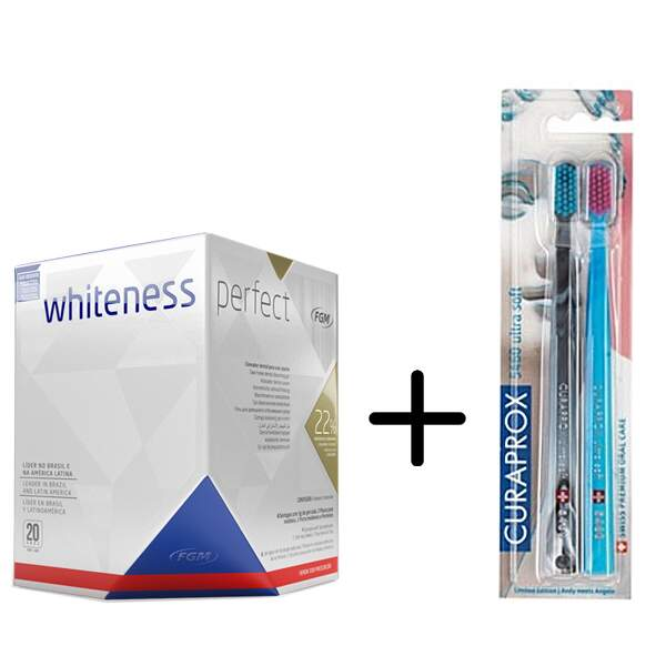 Kit Clareador Dental Whiteness Perfect 22 Escova 5460 Duo