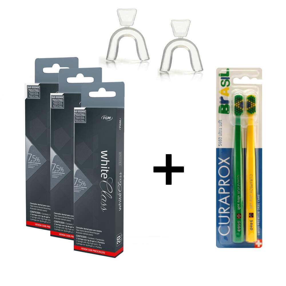 Kit Clareador Dental Caseiro White Class 7 5 Moldeira Escova