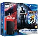 Console Playstation 4 Slim 1TB com Drive Club Uncharted 4 Ratchet Clank