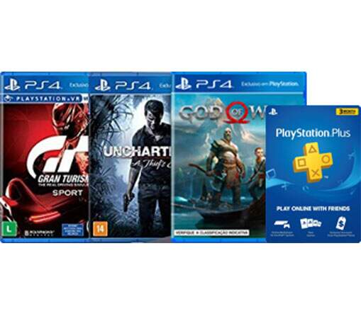 3 Jogos GOD OF WAR GRAN TURISMO UNCHARTED 4 + 3 Meses Psn