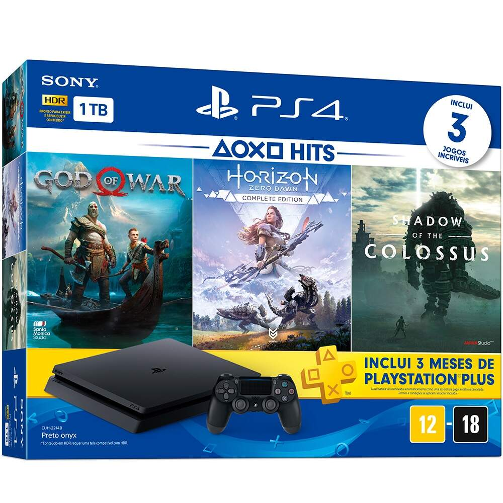 Playstation 4 Slim 1TB Hits Bundle 4 God of War Horizon Zero Dawn Shadow of The Colossus