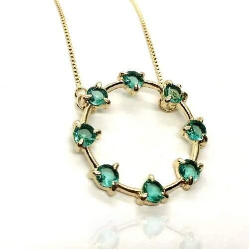 Colar Mandala Pedras Verdes Banhada a Ouro