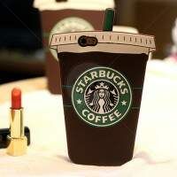 Capa de Silicone Copo Starbucks Coffee 3D para iPhone 4/4S/5/5S/5c/6/6 Plus