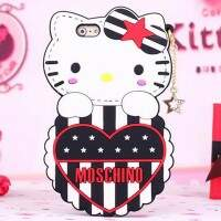 Capa de Silicone Estilo Moschino Hello Kitty para iPhone 5/5S/6