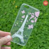 Capa de Silicone Transparente Strass Paris Eiffel para iPhone 5/5S/6/6S/6 Plus