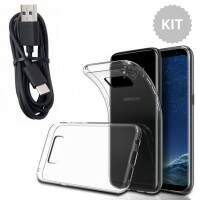 Kit Capa Tpu Flexível Galaxy S8 + Cabo Preto USB-C Type-c