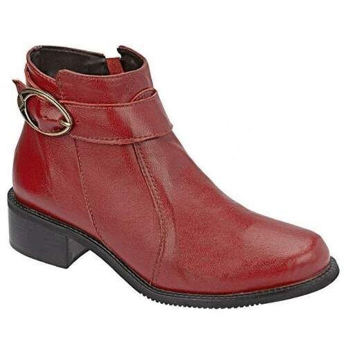Ankle Boot Sola Montaria em Latex Salto 3,5cm  - Cereja