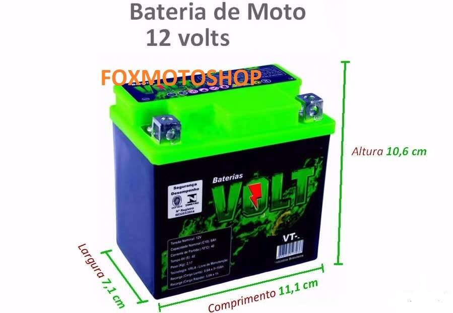 Bateria VOLT 5VT BIZ 100/ TITAN 125 KS / FAN 125 KS AE 50 NX 125 /BROS 125 /WEB /HUNTER 90