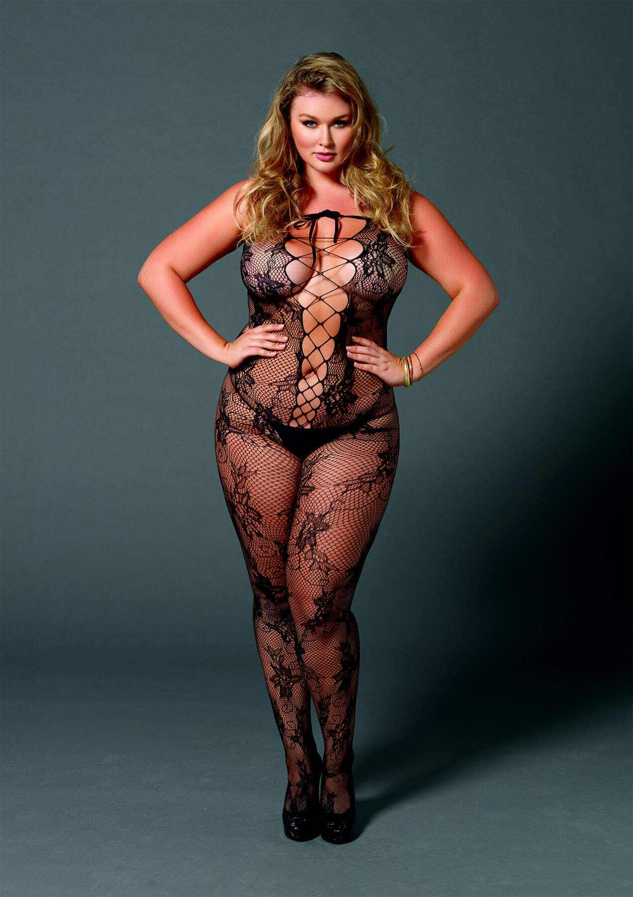 Seamless Floral Lace Bodystocking