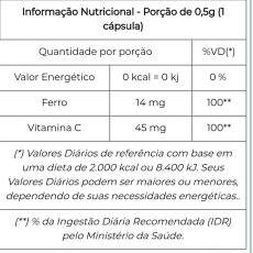 Ferro + Vitamina C 500mg - 60 caps - Unilife