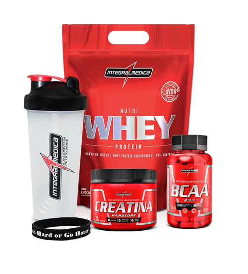 Kit - Whey 900g + BCAA 90 caps + Creatina 150g + Coqueteleira