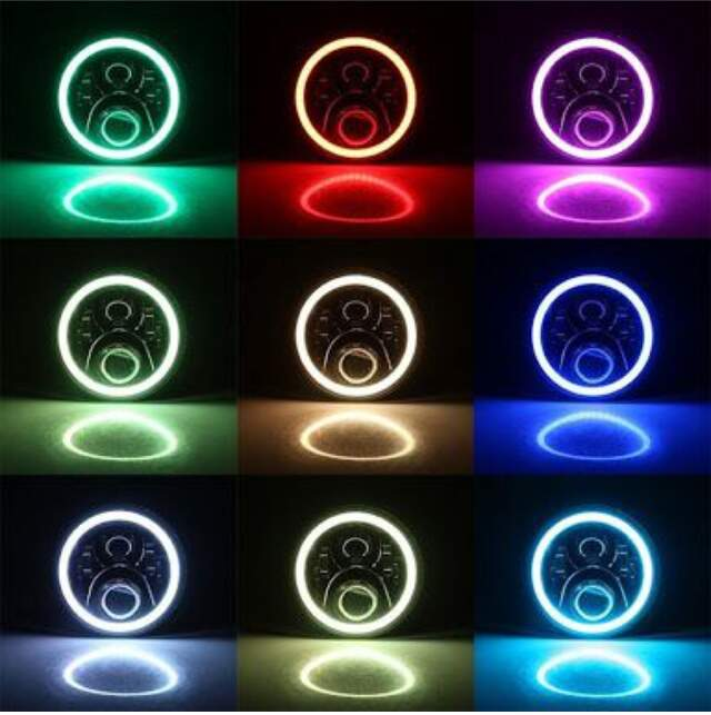 Par Farol Led Angel Eyes 7  Polegadas RGB Controle Bluetooth no Celular
