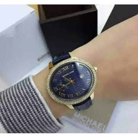 MICHAEL KORS Whitley Blue Textured Dial Blue Leather Ladies Watch
