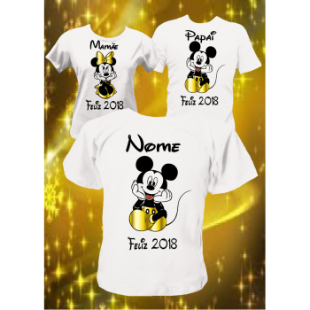CAMISETAS KIT ANO NOVO COM MICKEY/MINNIE