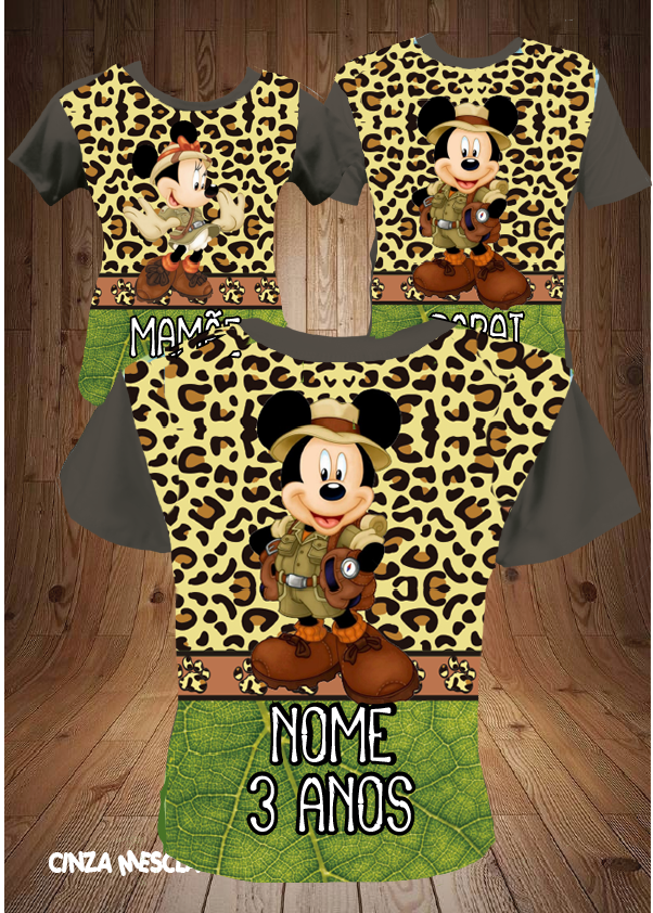 CAMISETAS DE ANIVERSARIO SAFARI DO MICKEY