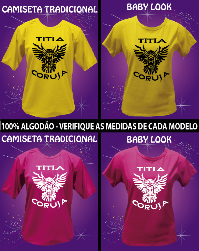 CAMISETA TIA CORUJA TRIBAL