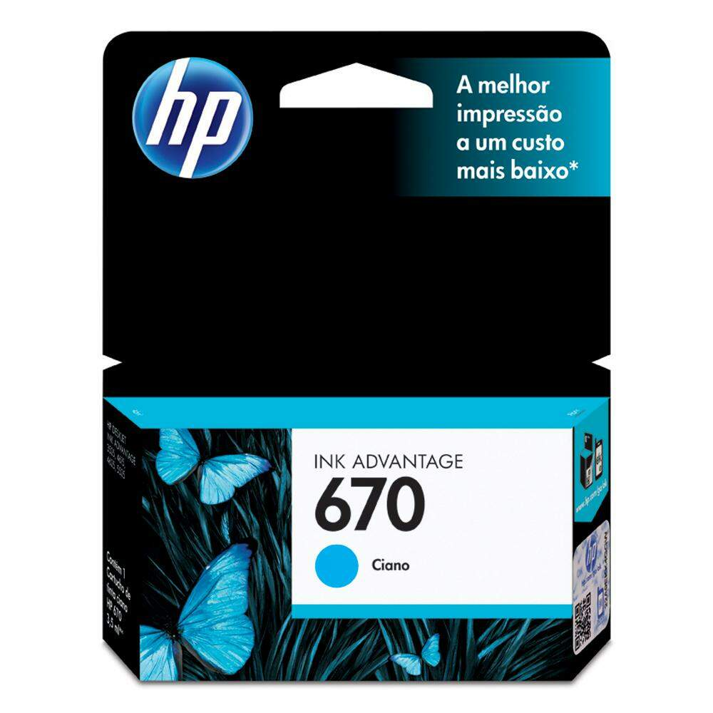 Cartucho de Tinta HP 670 Ciano CZ114AB Original 3,5ml