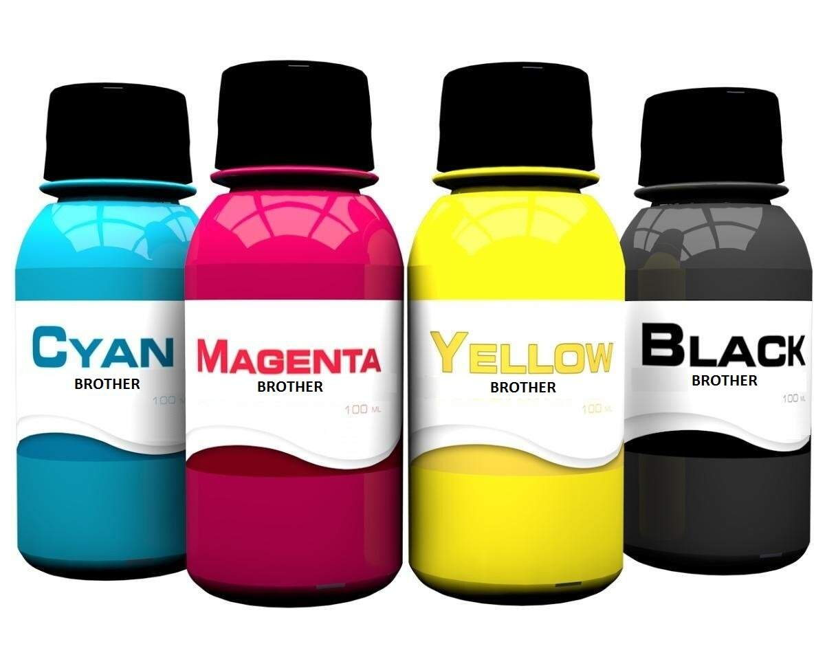 Kit com 4 Cores de Tinta Brother 100ml DCP165 | LC38 | LC39 | LC61 | LC67 | LC980 | LC985 | LC1100