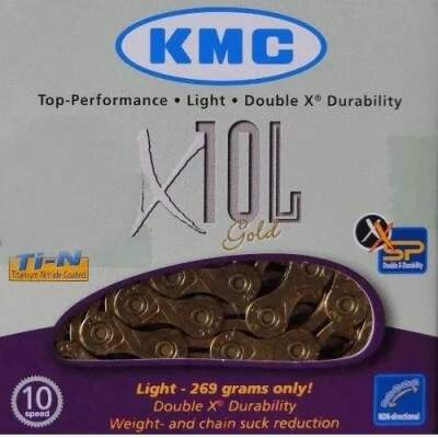 Corrente KMC Dourada X10L Gold Link Semi Vazado 10v Super Light