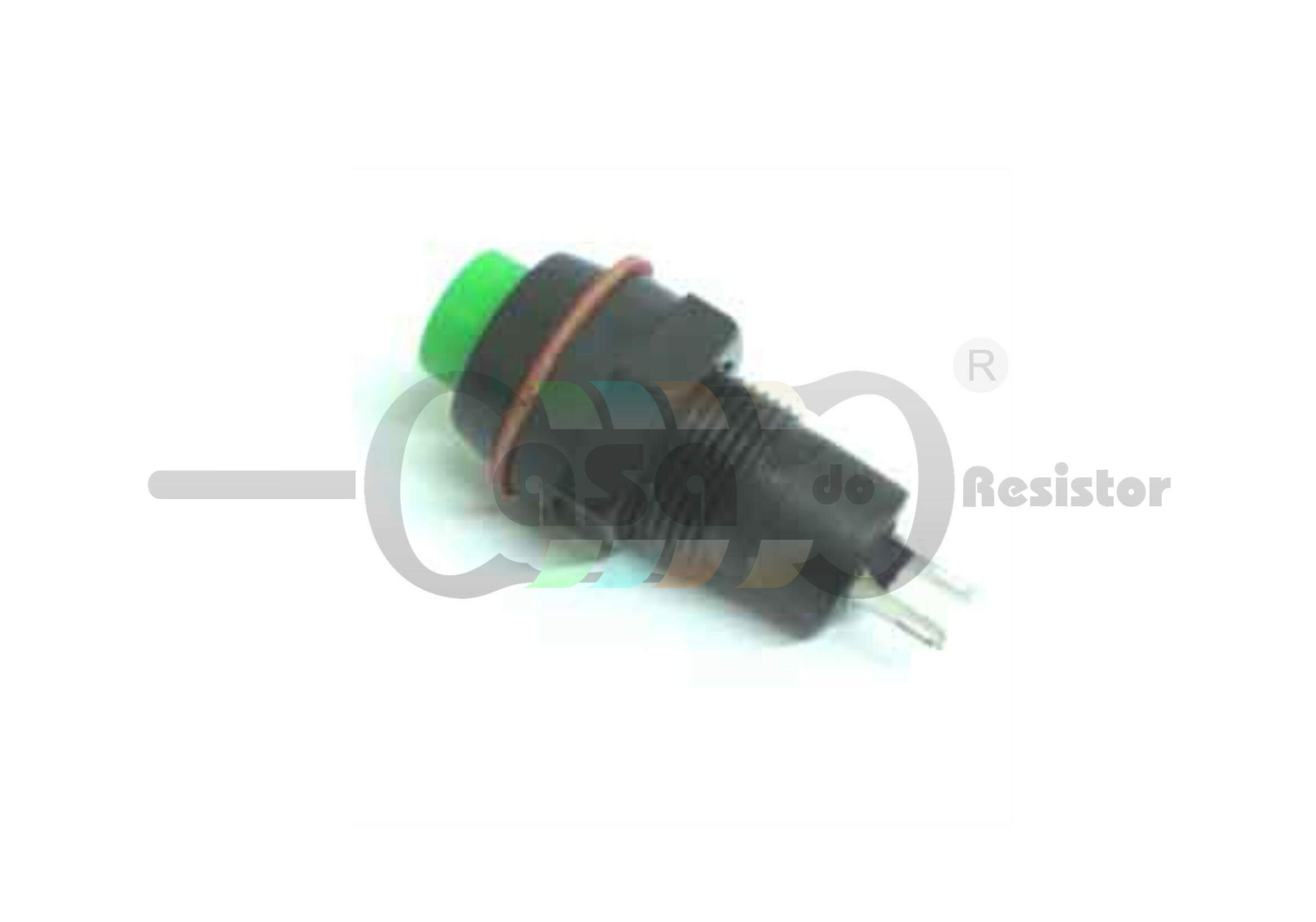 Chave Push Button DS- 211 2T com trava Verde