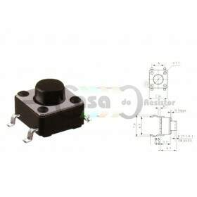 Chave Tactil KFC-A06 6X6X4,3 4T 180° SMD