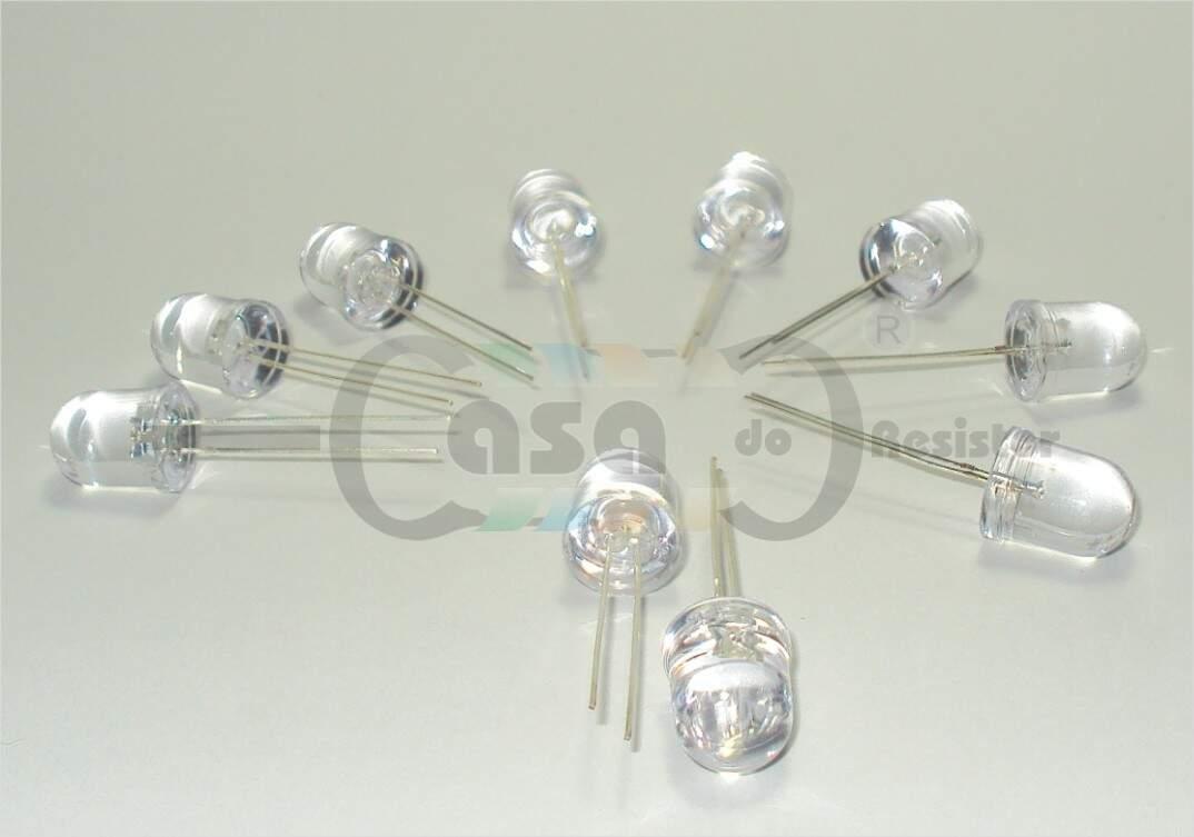 Led 10mm 12000-15000mcd - Transparente branco (ZCLG0066)