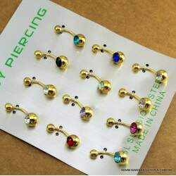 Piercing Umbigo Dourado Strass Color      PI527