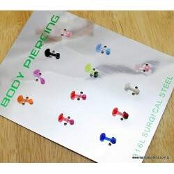 Cartela Piercing Silicone Color 1 mm X 1 CM  PI792