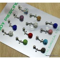 Cartela Piercing Umbigo Prata Com Strass Color   PI798