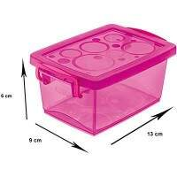 CAIXA ORGANIZADORA MINI 400ML PINK C/ TRAVA REF. OR80055 ORDENE