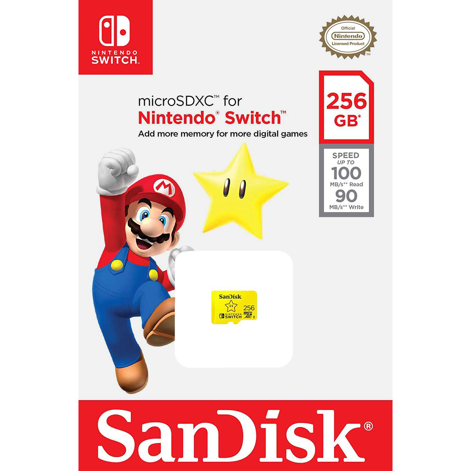 Cartão Sandisk Micro SD Nintendo Switch 256GB