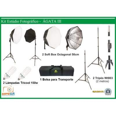 Kit Estudio Ágata 3 Soft Star Light Octogonal Luz Continua - 270W
